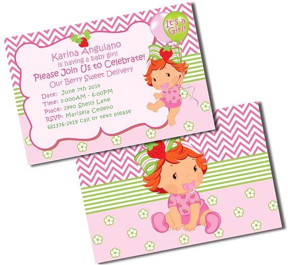 baby shower strawberry shortcake invitations strawberry