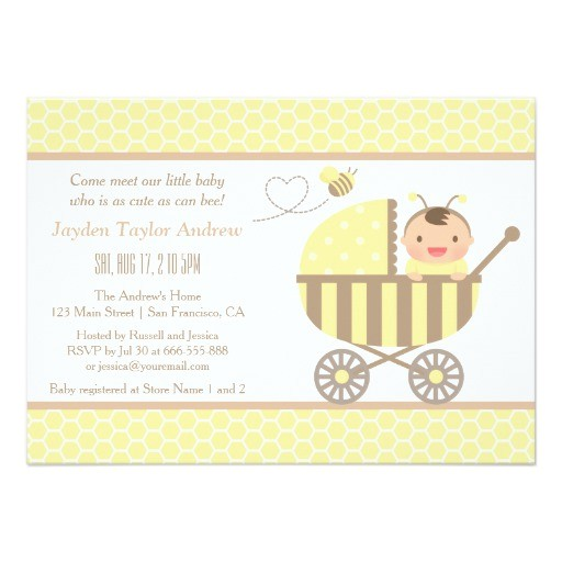 cute bumble bee stroller baby shower invitations
