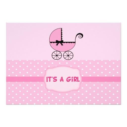 pink baby stroller shower invitation