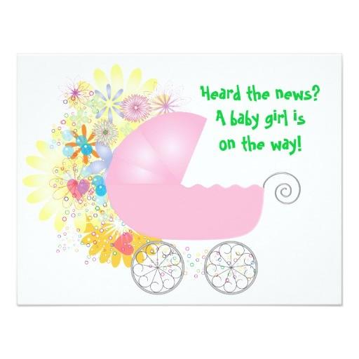 "Stroller Baby Shower Invitations Pink Stroller Baby Shower Invitation 4 25"" X 5 5"