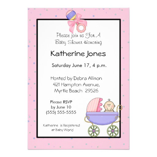 pink stroller baby shower invitations
