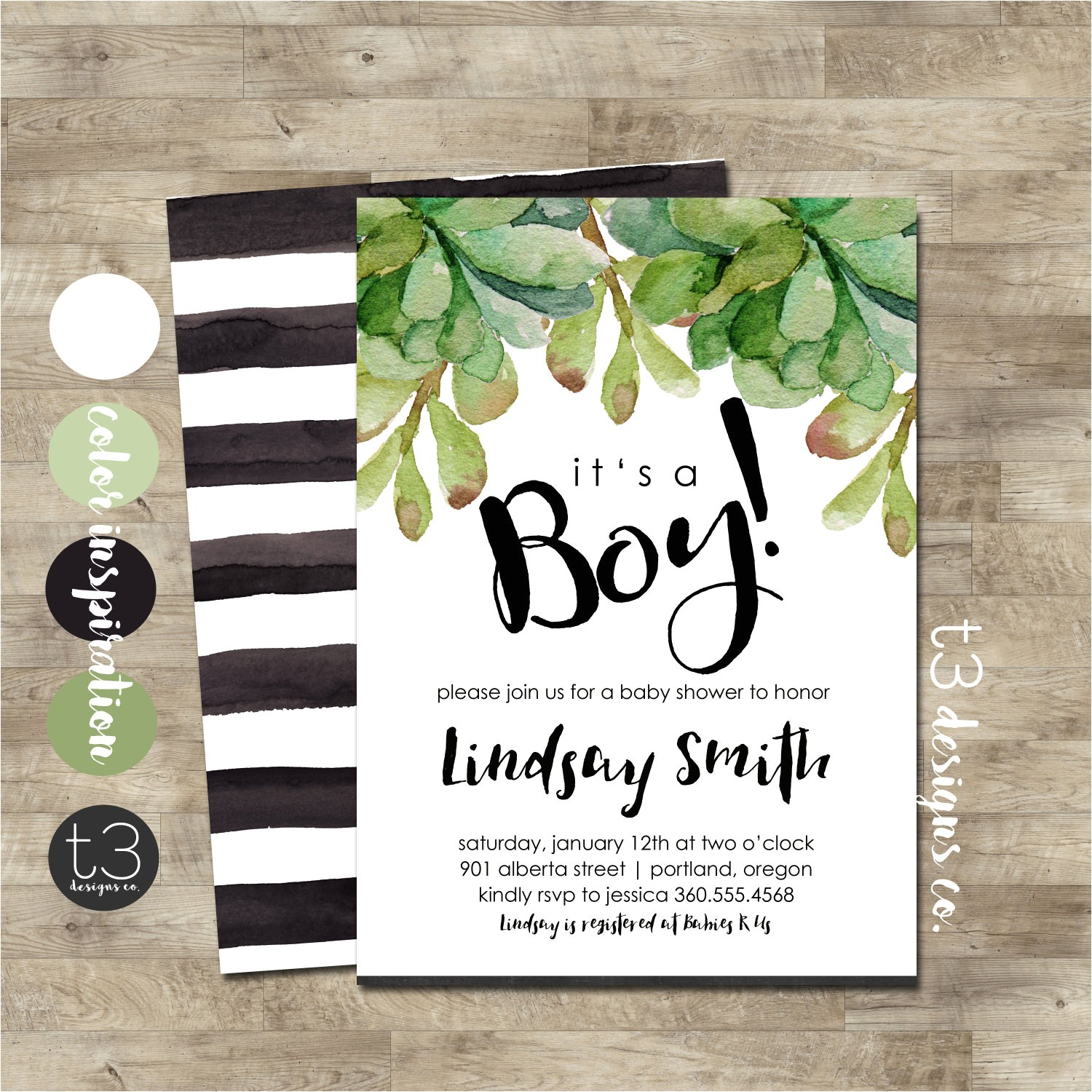 boy baby shower invitation modern baby