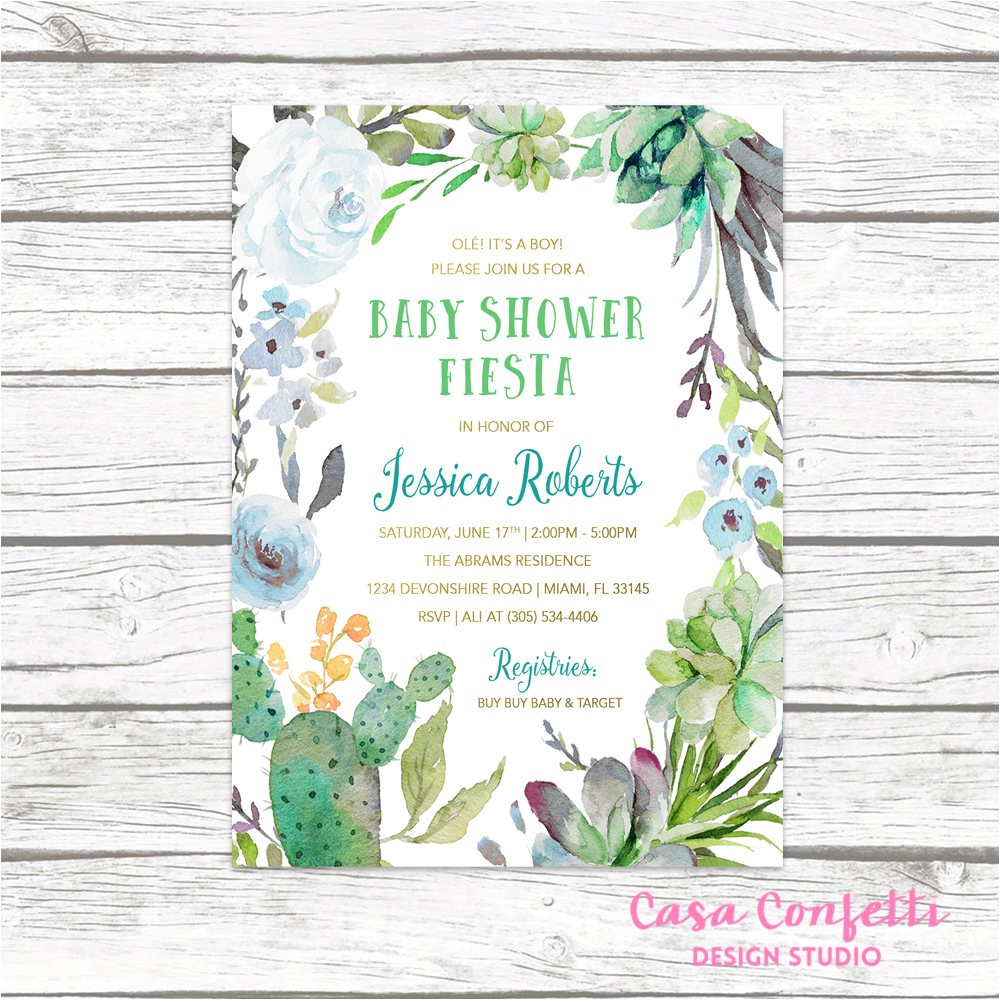 fiesta baby shower invitation boy cactus