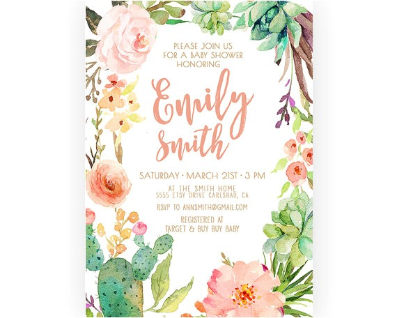 girl baby shower invitation succulent