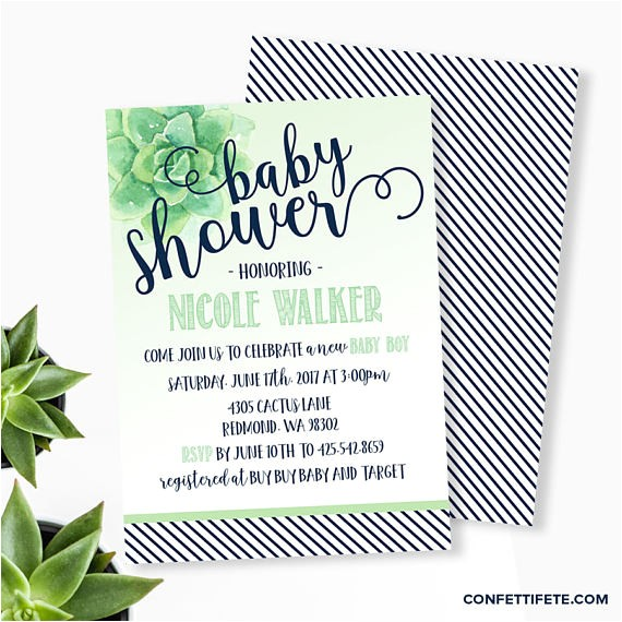 succulent baby shower invitation gender neutral