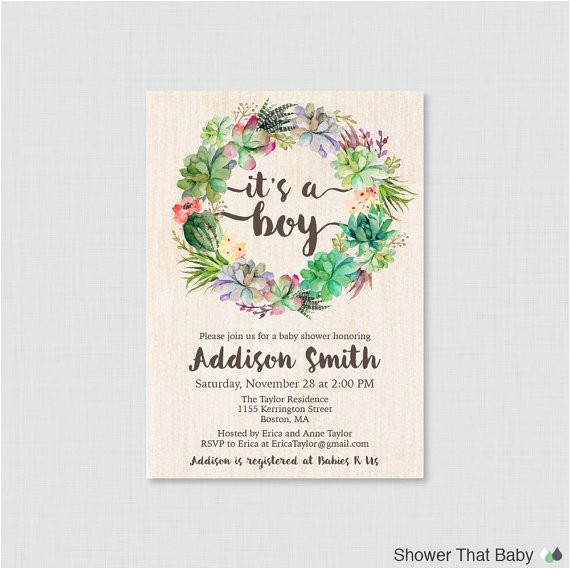 succulent baby shower invitation