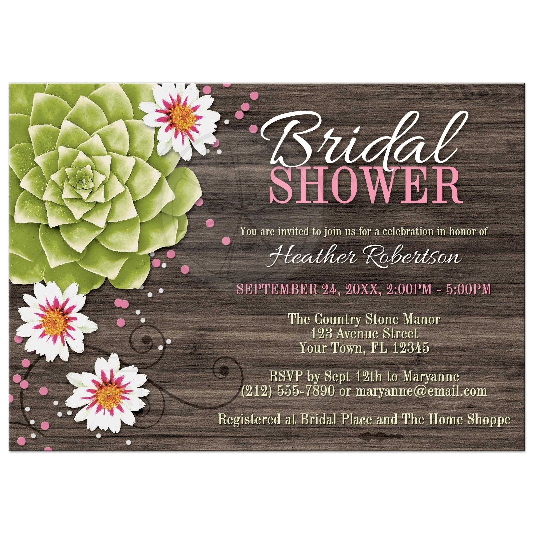 Succulent Bridal Shower Invitations Bridal Shower Invitations Rustic Succulent Floral Wood Pink