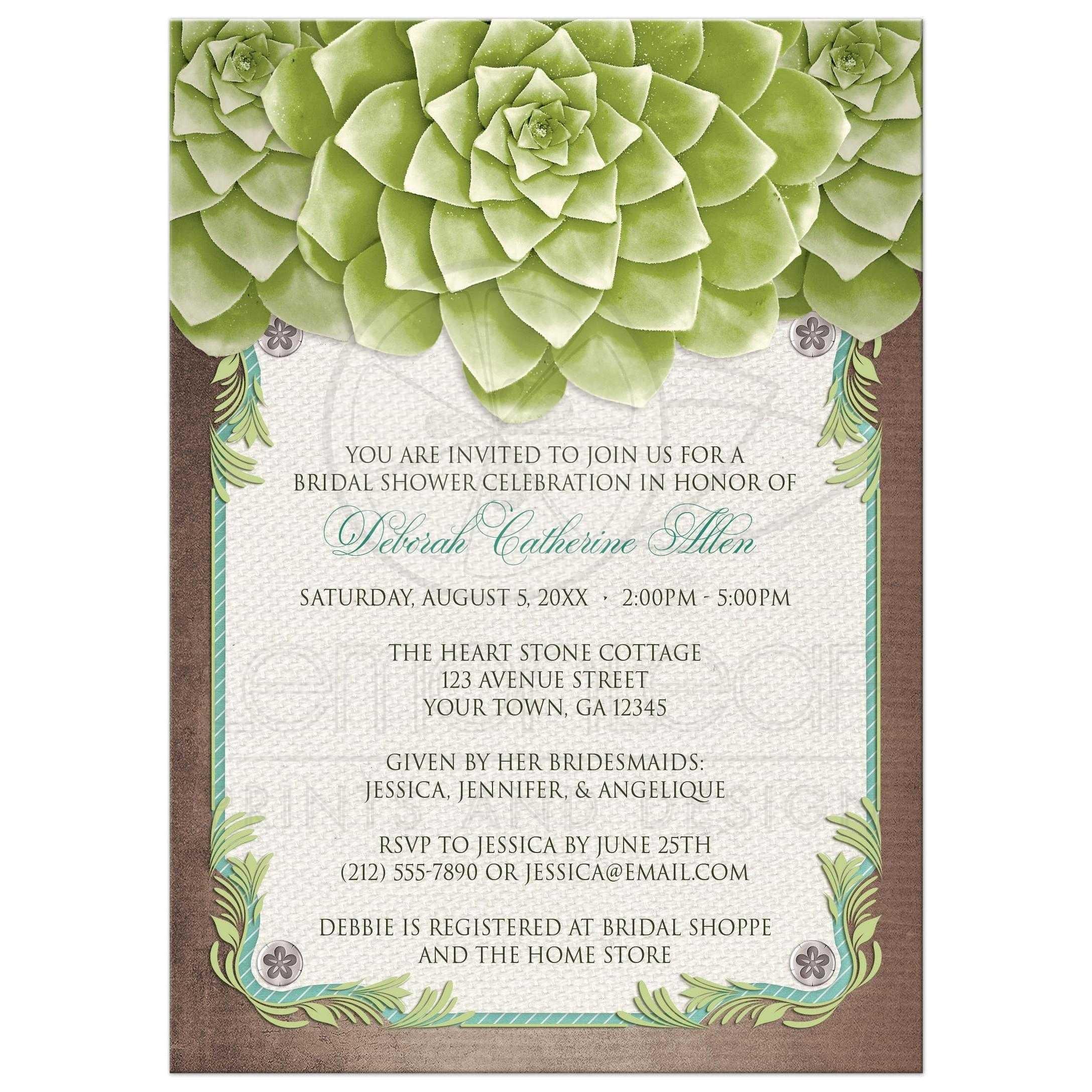 bridal shower invitations rustic succulent garden