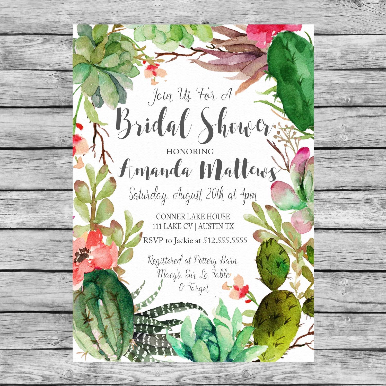 bridal shower succulent invitation