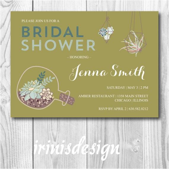 green succulent bridal shower invitation