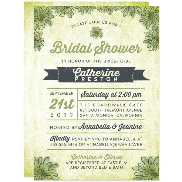 bridal shower invitations watercolor succulents