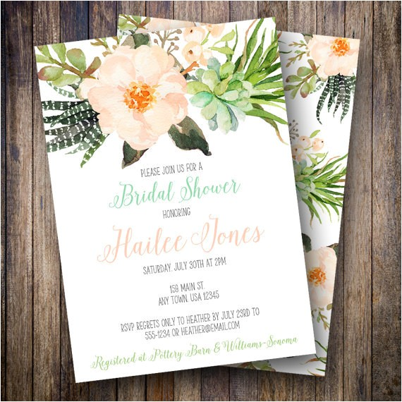 boho watercolor floral bridal shower invite 5