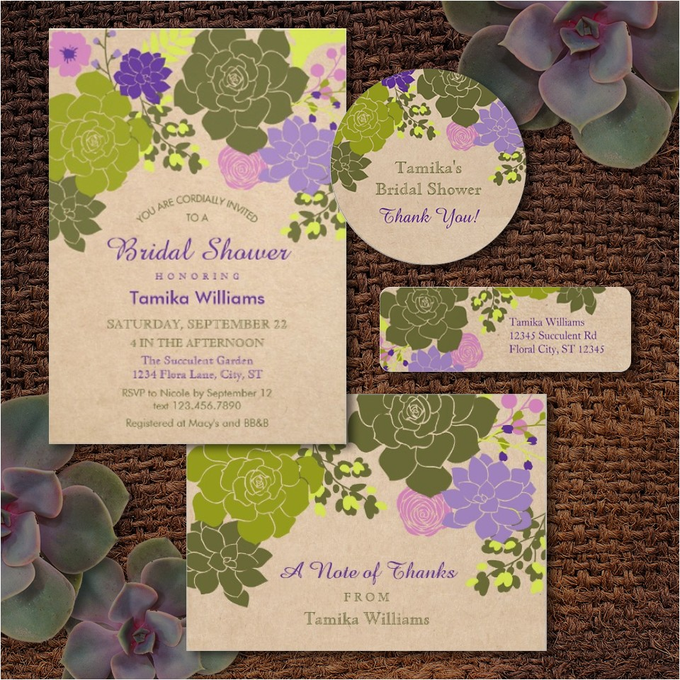 bridal shower invitations succulents