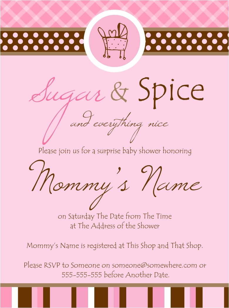 Sugar and Spice Baby Shower Invites Sugar and Spice Baby Shower Invitations Template