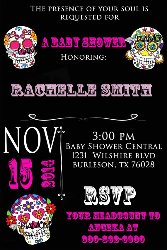 Sugar Skull Baby Shower Invitations Items Similar to Sugar Skull Baby Shower Invitation On Etsy