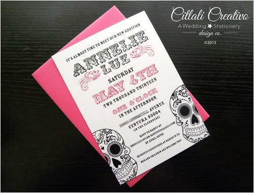 pink sugar skull baby shower invitations