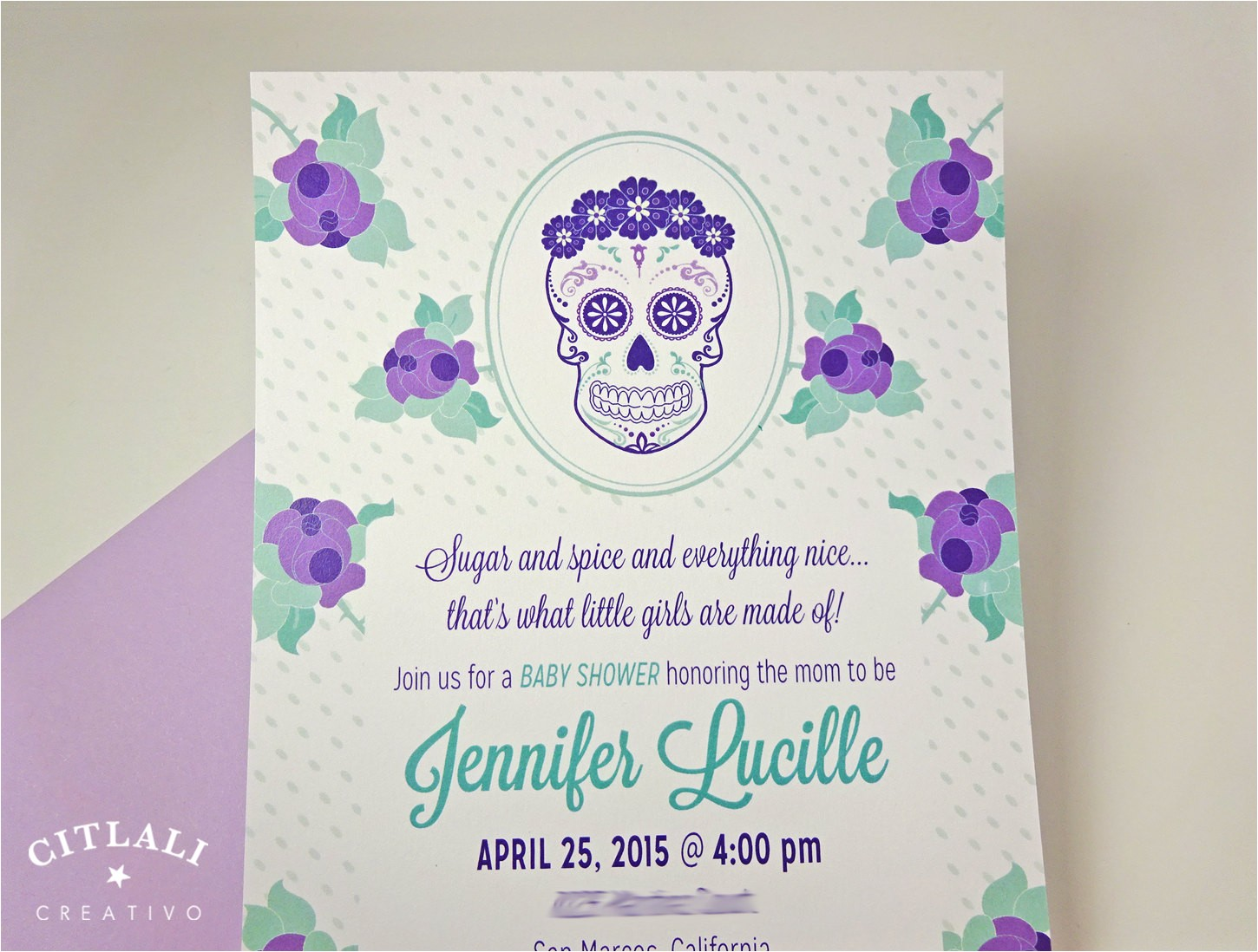 sugar skull baby shower invitations in