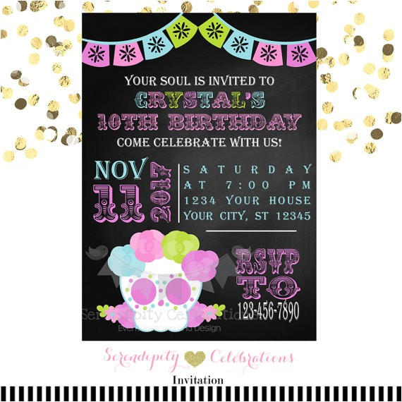 sugar skull invitation chalkboard invitation printed