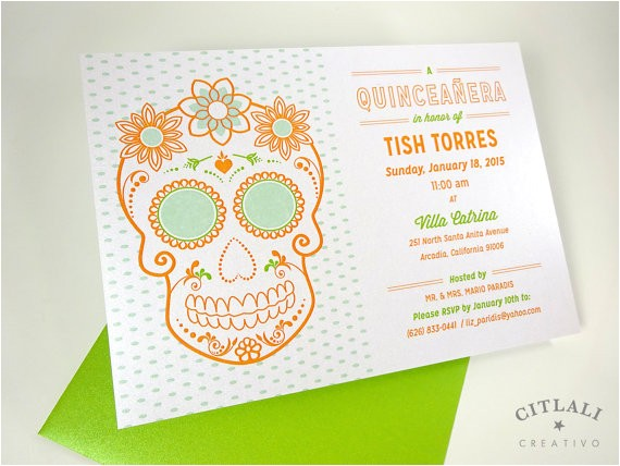 sugar skull quinceanera invitations