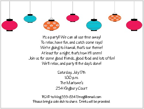paper lanterns summer party invitations