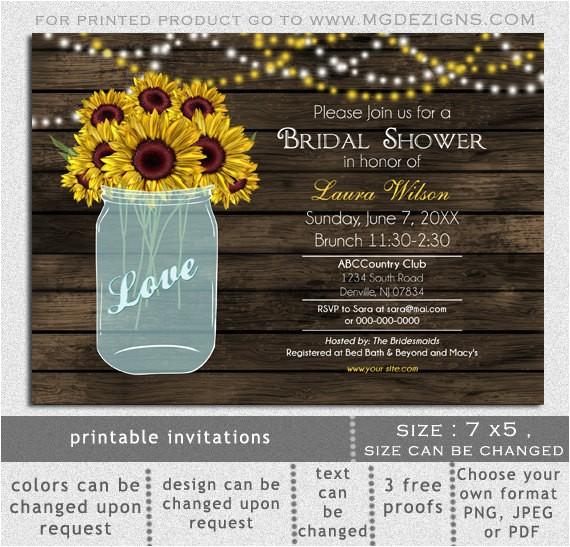 printable sunflowers bridal shower