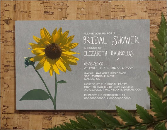 sunflower bridal invitations bridal