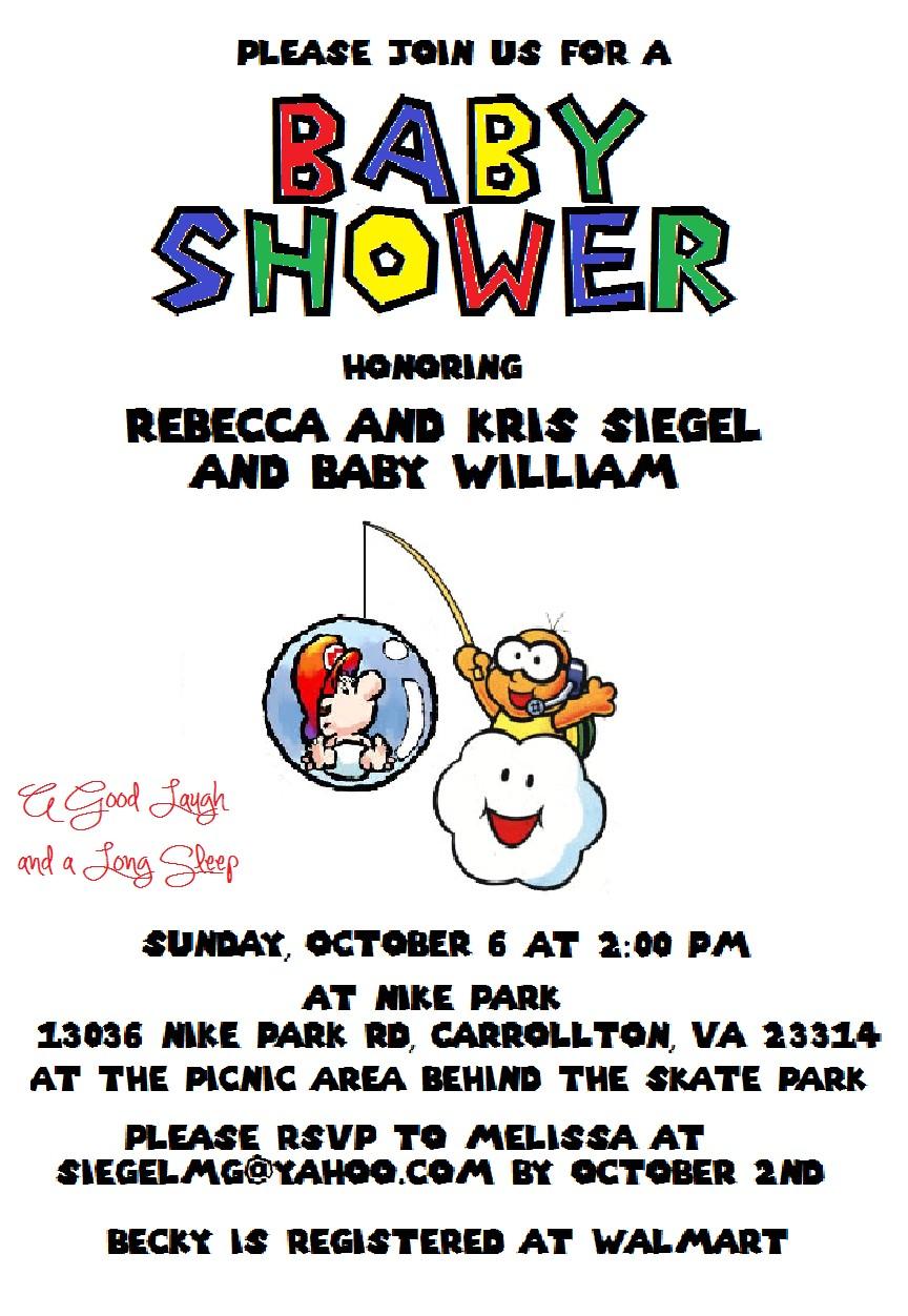 super mario baby shower invitations