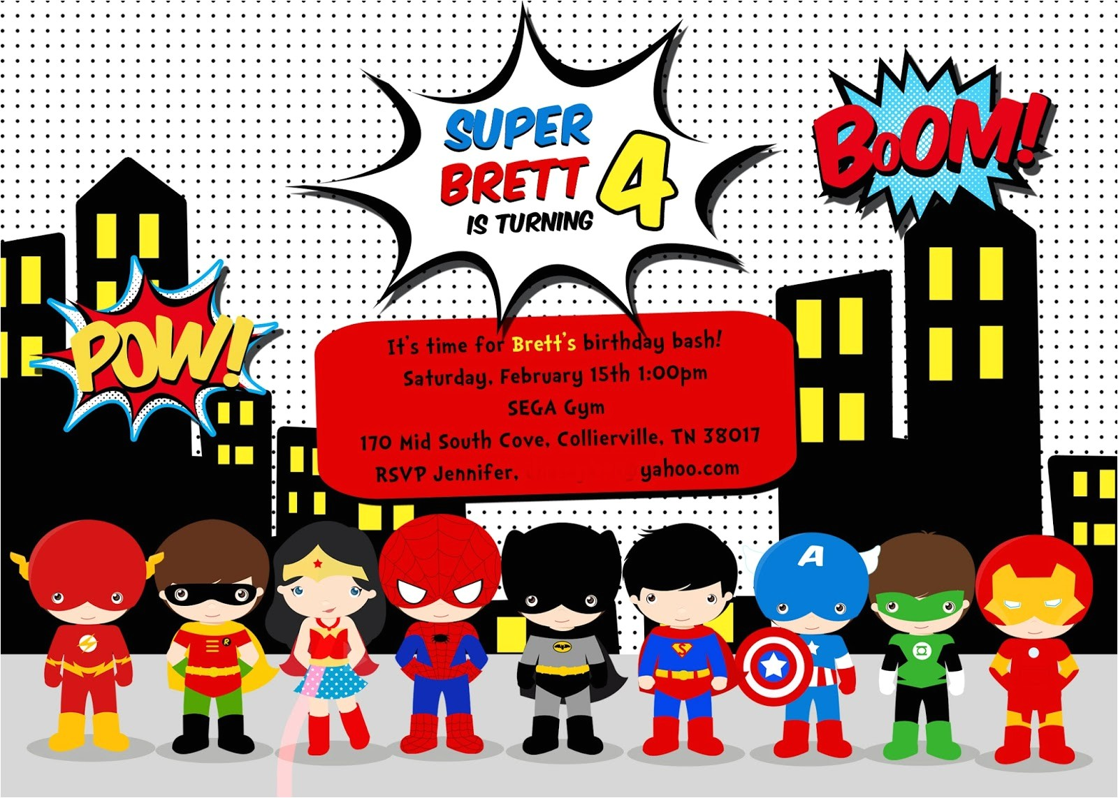 Superhero Birthday Invitations Templates Free Greygrey Designs My Parties Brett S Superhero 4th