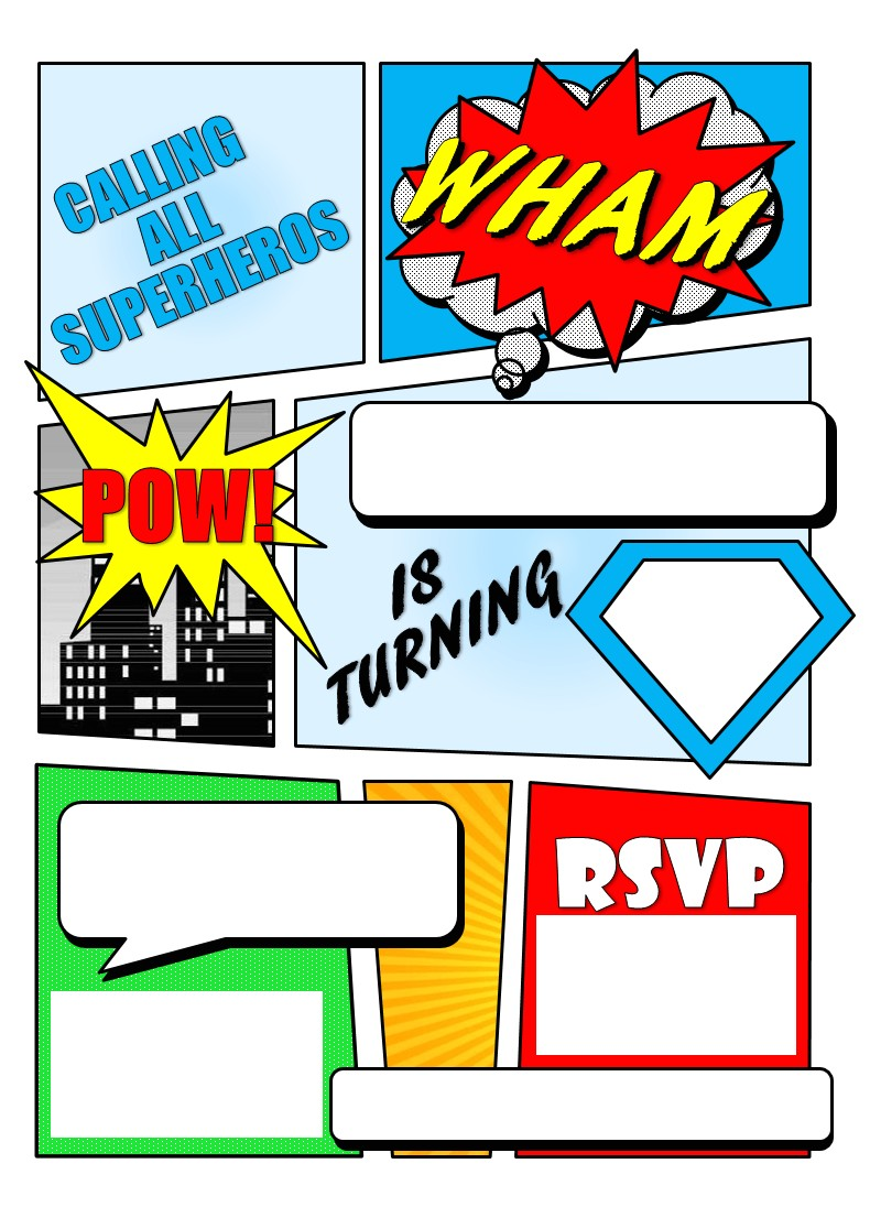 super hero ic book invitation