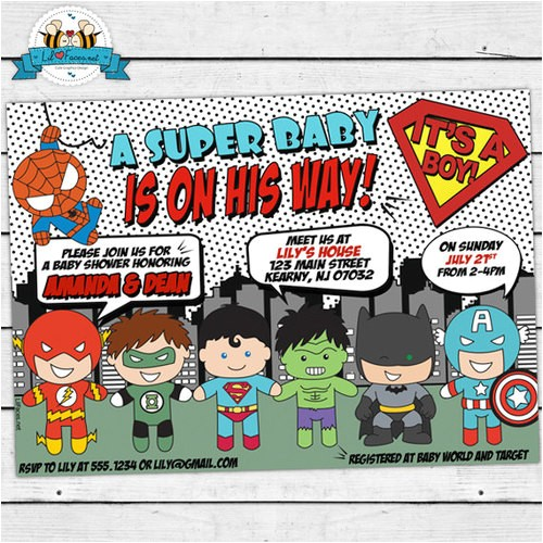 superhero baby shower invitation baby superheroes