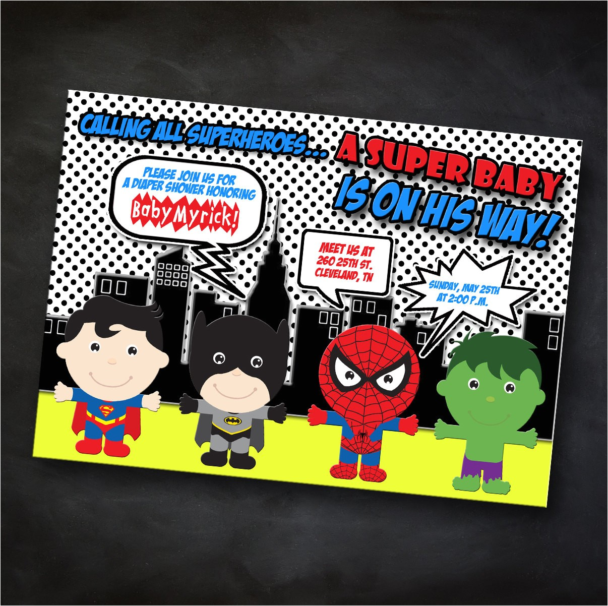 superhero themed baby shower invitation
