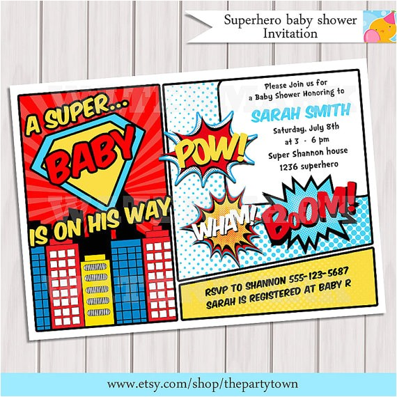 superhero baby shower invitation printable invite