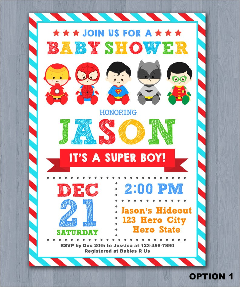 superhero baby shower invitation super