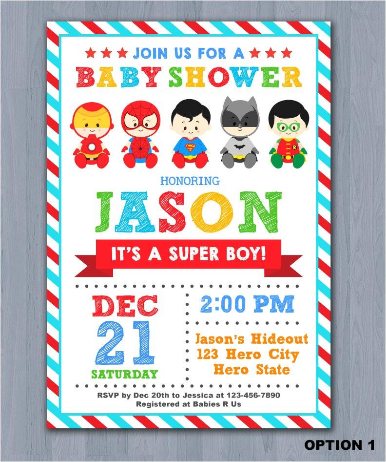 superhero baby shower invitation super