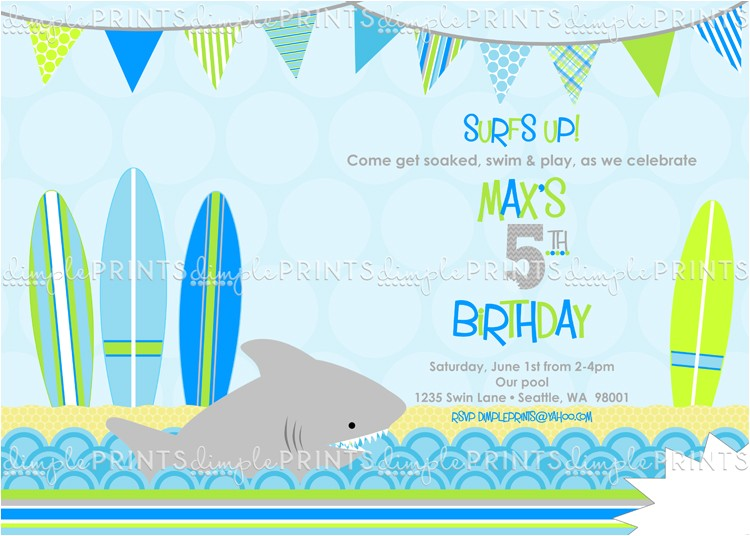 shark surf boards birthday invitatio