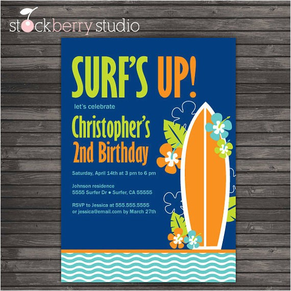 surfer hawaii birthday diy printable invitation
