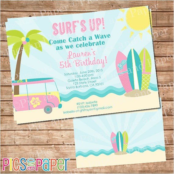 surf birthday party invitation for girl