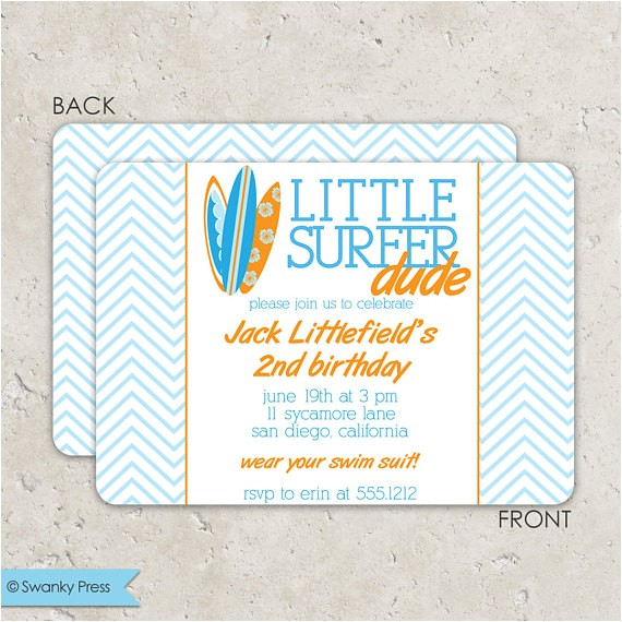 surf board birthday invitation chevron surfer