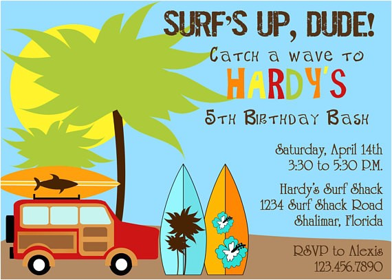 surfer dude birthday party invitation