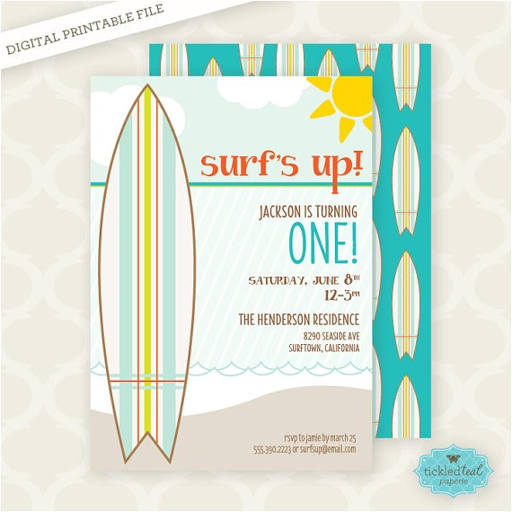 printable invitation surfs up first