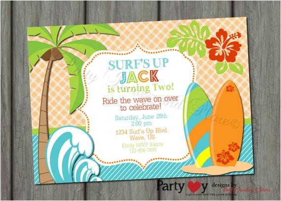surfer surfs up birthday invitation