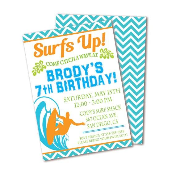 surf birthday party invitation surfs up