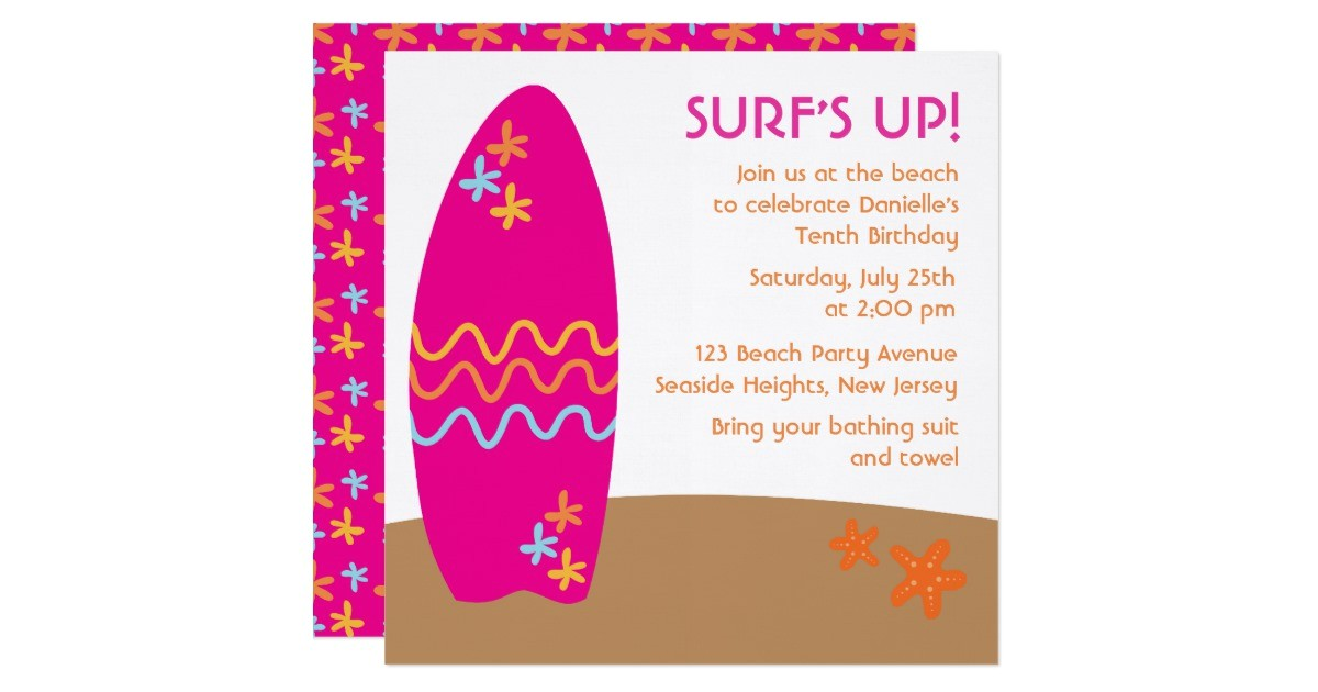surfs up beach party invitations