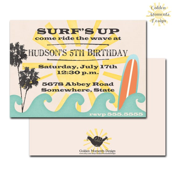 surfs up birthday invitation beach party