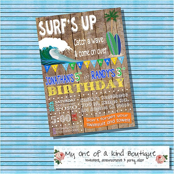 surfs up birthday party invitation pool