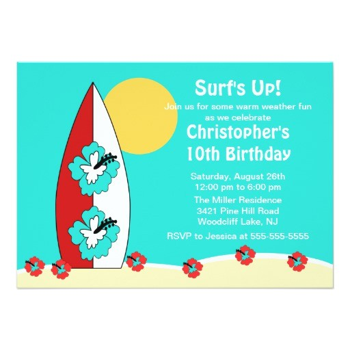 surfs up surfboard swimming birthday invitation