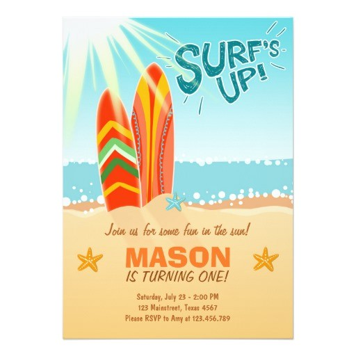 Surf S Up Birthday Party Invitations Surfing Birthday Invitation Surf S Up Beach Party