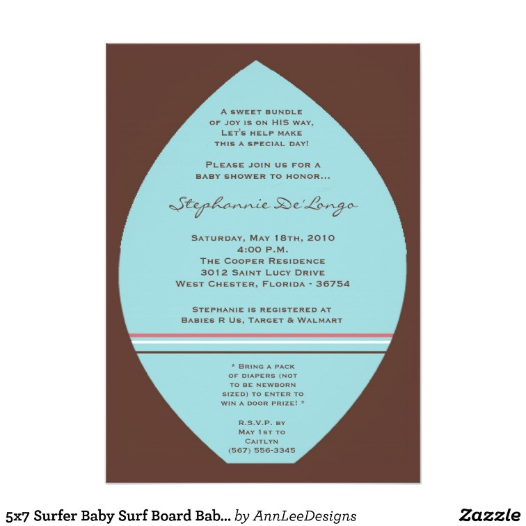 5x7 surfer baby surf board baby shower invitation