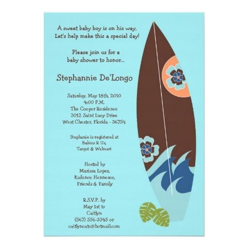 Surfer Baby Shower Invitations 5×7 Surfer Baby Surf Boards Baby Shower Invitation