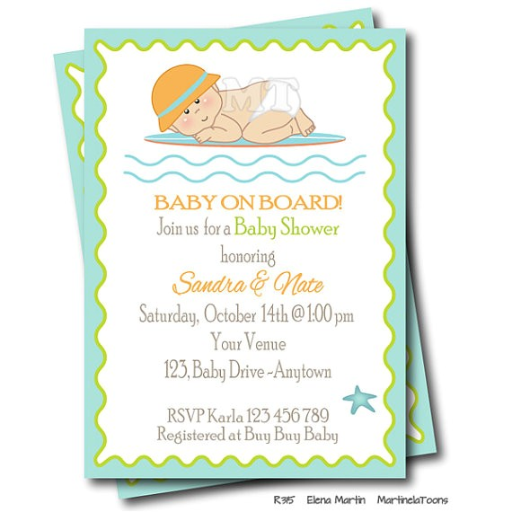 surf baby shower invitation baby board